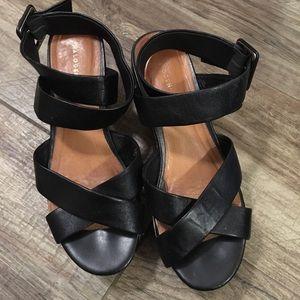 f629cc658ca Halogen black leather platform wedge sandals